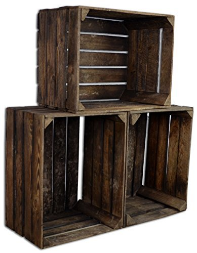 3 set vintage holzkiste gebrannt alte obstkiste weinkiste natur used look diy. Black Bedroom Furniture Sets. Home Design Ideas