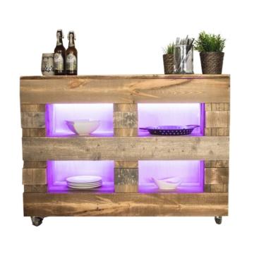 Bar aus Europaletten mit LED Palettenmoebel