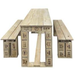 Garnitur Tisch und Bank aus Europaletten Palettenmoebel