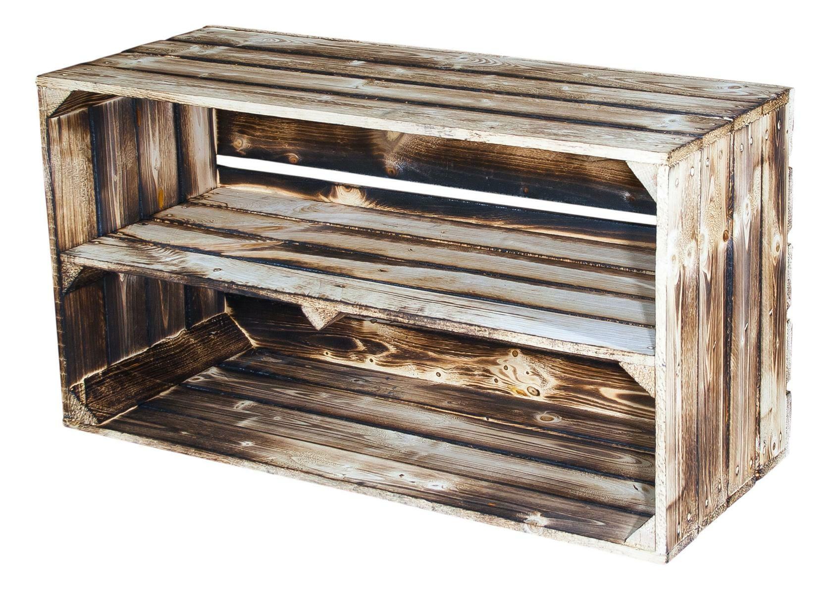 geflammte holzkiste mit mittelbrett 74x40x31cm obstkisten shop. Black Bedroom Furniture Sets. Home Design Ideas