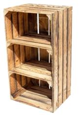 Holzkisten-Regal-Geflammt-Hochschrank-mit 2 Böden