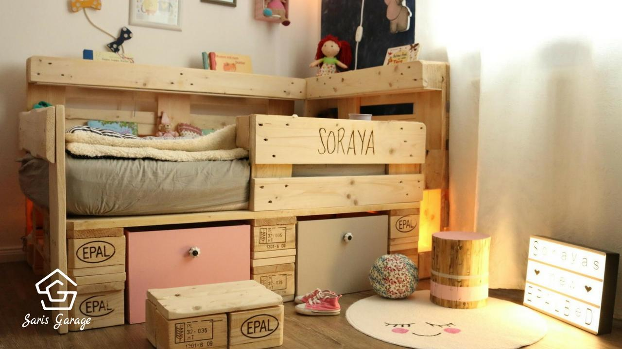 palettenbett f r kinder kinderbett aus europaletten diy anleitung. Black Bedroom Furniture Sets. Home Design Ideas