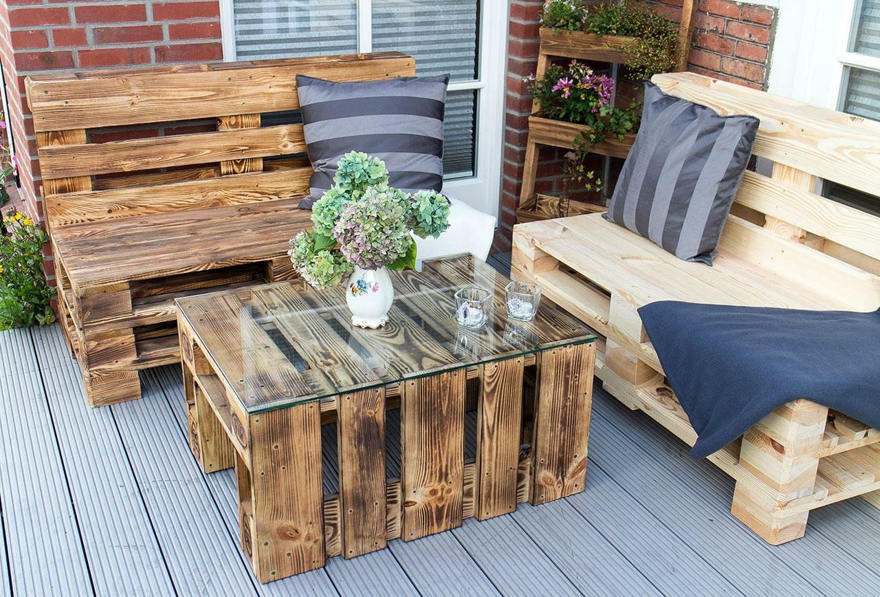 Lounge-Bank aus Paletten-2er-Gartenmöbel-2