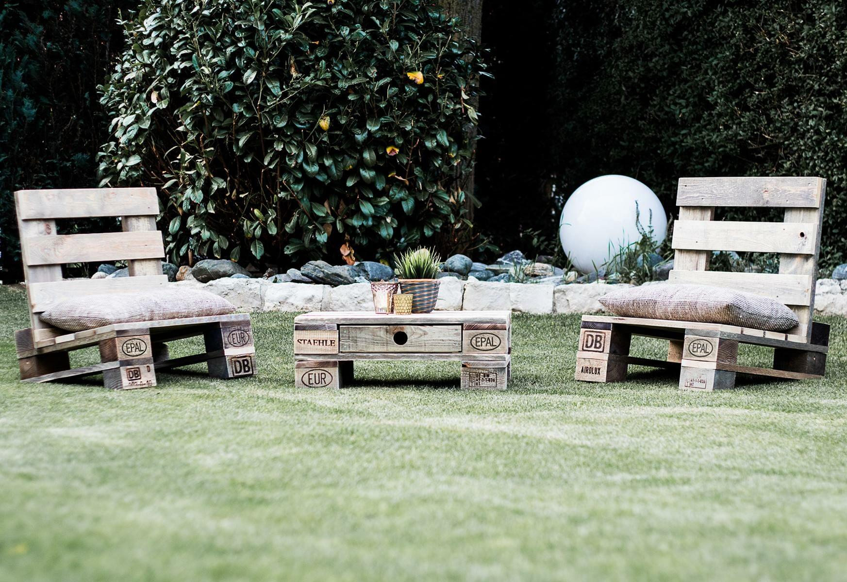 Lounge Möbel-Palettenlounge im Garten-2