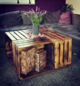 Obstkisten Tisch mit Rollen-Weinkisten Möbel