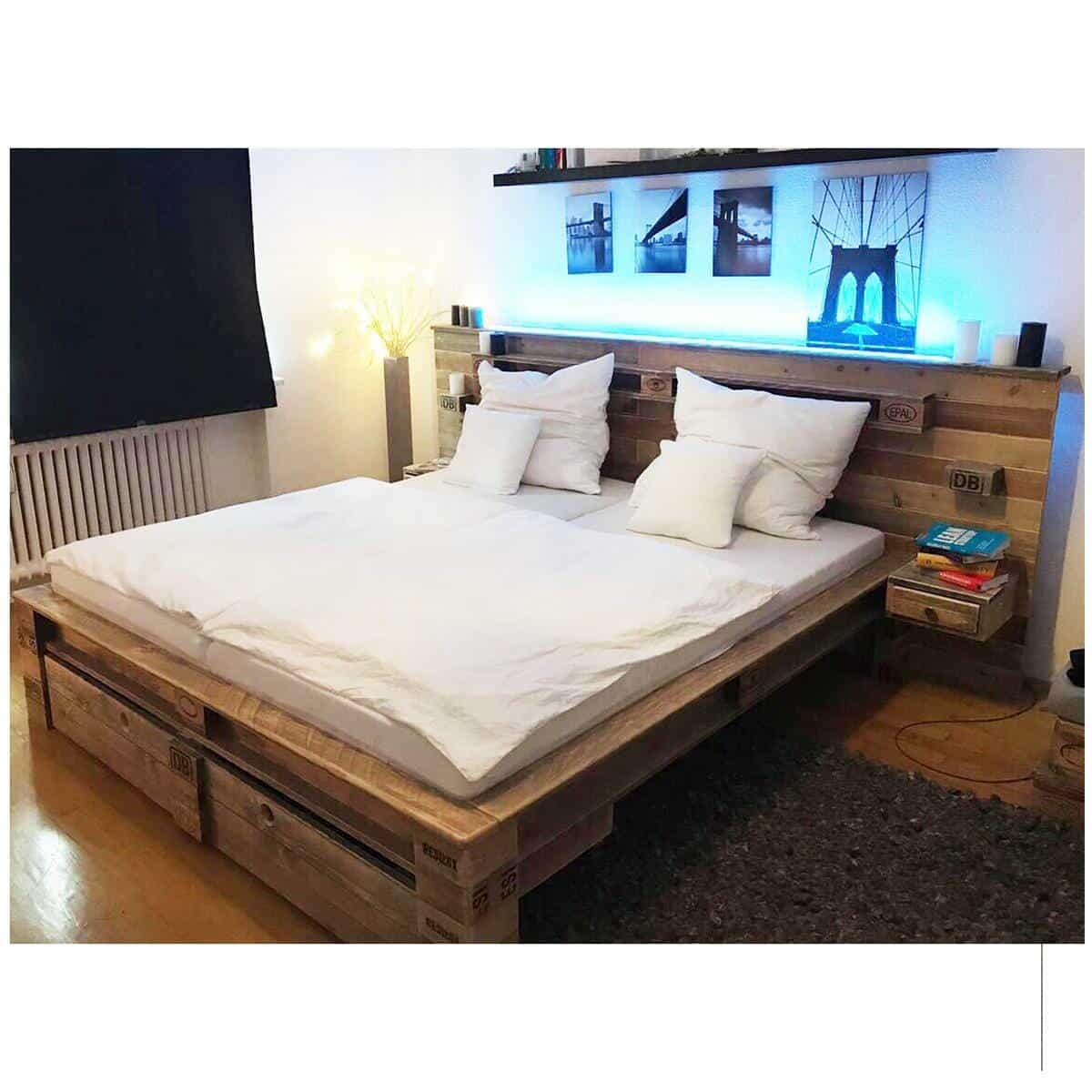 ᐅᐅ Palettenbett kaufen - Mit LED und vielen Extras | Bett aus Paletten