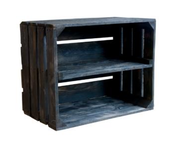 Schwarze Holzkiste mit Regalboden