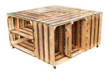 obstkisten tisch mit glasplatte rollen weinkisten shop. Black Bedroom Furniture Sets. Home Design Ideas