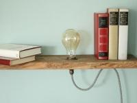 Vintage lampe - Holzregal - regal selber bauen- Vintage Glühbirne - Lampe anschließen-6