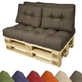 Europaletten-Kissen wählbar mit Auflage -  120x40x10-20 cm - verschiedene Farben auswählbar