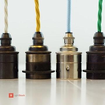 Glattmantel Lampenfassung - Fassung aus Messing - E27 antik gebürstet-2