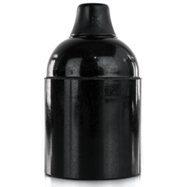 Lampenfassung Bakelitfassung E27 Bakelit schwarz - Klemmnippel