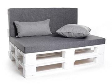 Set mit Ecklehnen - Palettenauflage - Sitzkissen - Set frei wählbar - grau-3