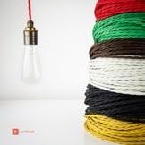 Textilkabel für Vintage Lampen - verseilt - dreiadrig 3x0,75mm² - rot-2