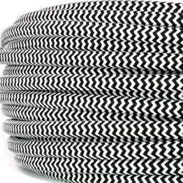 Textilkabel für Vintage Lampen - Textilummanteltes Rundkabel - dreiadrig 3x0,75mm²,- Schwarz-Weiß - zick-zack